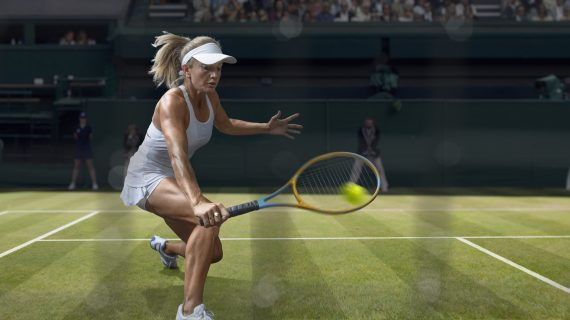 A close up of professional woman tennis player squatting to play a backhand volley close to the net. The tennis player wearing a white dress and tennis hat and is playing on a grass tennis court in an outdoor arena during a tennis tournament. With motion blur and selective focus.