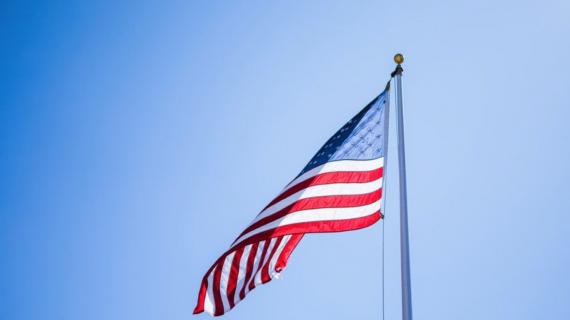American flag flying.